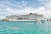MIAMI,USA - MAY 31,2014 : Luxurious cruise ship docked at the Port of Miami