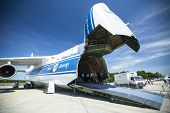 BERLIN, GERMANY - MAY 21, 2014: Strategic airlift jet aircraft Antonov An-124 Ruslan Volga-Dnepr (NA