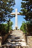 stock photo of filerimos  - Big Cross on the Filerimos Hill in Rhodes - JPG