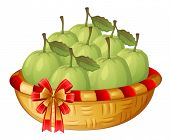 Illustration of a basket of guavas on a white background