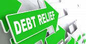Debt Relief on Green Direction Arrow Sign.