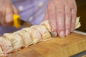 Baker Making Strudel, Close Up