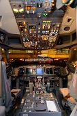 HONG KONG, CHINA - MAY 12, 2014: Malaysian Airline Boeing 737 cockpit interior on MAY 12, 2014. Mala