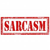 stock photo of sarcasm  - Grunge rubber stamp with text Sarcasm - JPG