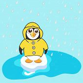 Cute penguin in yellow raincoat, smiling and enjoying raindrops in the blue lovely monsoon season.