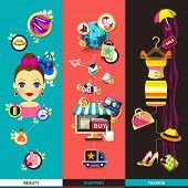 Flat Design Concept Icons For Beauty And Shopping