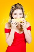 Retro Pinup Girl Eating Gmo Free Corn Cob