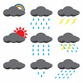 foto of goodnight  - Vector illustration of rain season symbol set - JPG