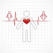 pic of heartbeat  - Heartbeat make a male and female symbol stock vector - JPG