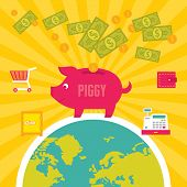 Moneybox Piggy Illustration in Flat Design Style
