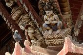 Hindu Gods And Dove - Traditional Wooden Temple Decoration,nepal, Asia