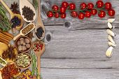 Wood Background In Country Style With Spices