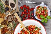 Delicious Tomato Salad An Enamel Bowl