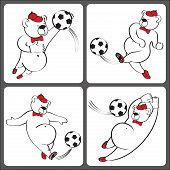 Bears Plays Football.cartoon Vector Humorous Illustration Set