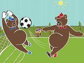 Two Brown Bears Plays Football.cartoon Vector Humorous Illustration