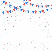 Independence day pennants with confetti