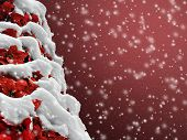 Poinsettia Christmas tree in the snow for a beautiful background scene