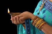 stock photo of sari  - Diwali or festive of light - JPG