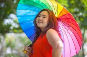 Happy Fatty Woman With Umbrella