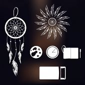Set Of Icons On A Theme Of Lucid Dream And Deep Sleep