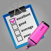 Pink felt tip pen and blue checklist