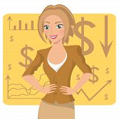 Business woman in ochre suit smiling character on chart background vector illustration