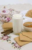 Glass Of Buttermilk (milk) And Cookies With Honey