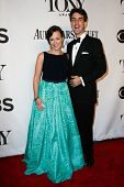 NEW YORK-JUNE 8: Composer Georgia Stitt (L) and husband Jason Robert Brown attend American Theatre W