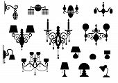 Sets of silhouette Lamp and Chandelier