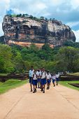 SIGIRIYA, SRI LANKA - 28 FEBRUARY, 2014: Group of unidentified school students walking in garden com