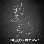 United Kingdom map blackboard chalkboard vector