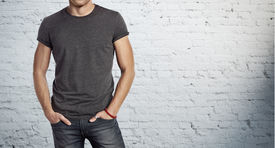 image of apparel  - Young handsome man wearing blank grey t - JPG
