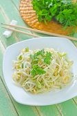 image of soybean sprouts  - salad with bean sprouts on the plate - JPG