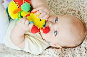 pic of teething baby  - a sweet baby is biting a toy