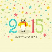 Happy New year celebrations greeting card design with cute owl and stylish text 2015 on colorful stars decorated background.