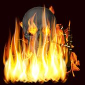 flames and skull