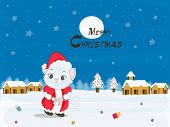 Merry Christmas celebration concept with cartoon of a cat in Santa dress on winter night background.
