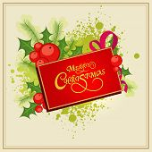 Beautiful greeting card for Merry Christmas celebrations decorated with mistletoe, fir leaves and stylish shiny text.