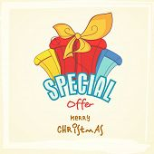 Special offer poster, banner or flyer with colorful gift boxes for Merry Christmas celebrations .