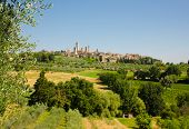 View from orchards and wineries at old tuscan town San Gimignano, Italy