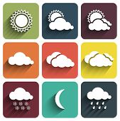 Flat Design Weather Icons Set On Tiles