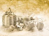 golden christmas background with blur effect
