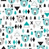Seamless geometric pastel holidays theme grizzly bear forest and triangle christmas tree background pattern in vector