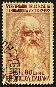 picture of leonardo da vinci  - Leonardo da Vinci image in a cancelled stamp - JPG