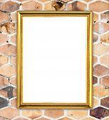 Golden Frame On Brick Hexagonal Stone Wall Background