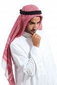 Arab Saudi Emirates Man Thinking And Looking Down