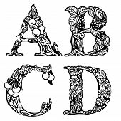 Set of letters ABCD