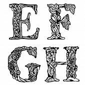 Set of letters EFGH