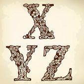 Set of letters XYZ