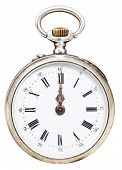 Twelve O'clock On The Dial Of Retro Pocket Watch